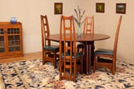 catlin expandable dining table and ladderback chairs