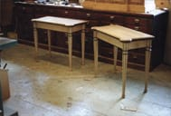 gate leg card tables in woodshop