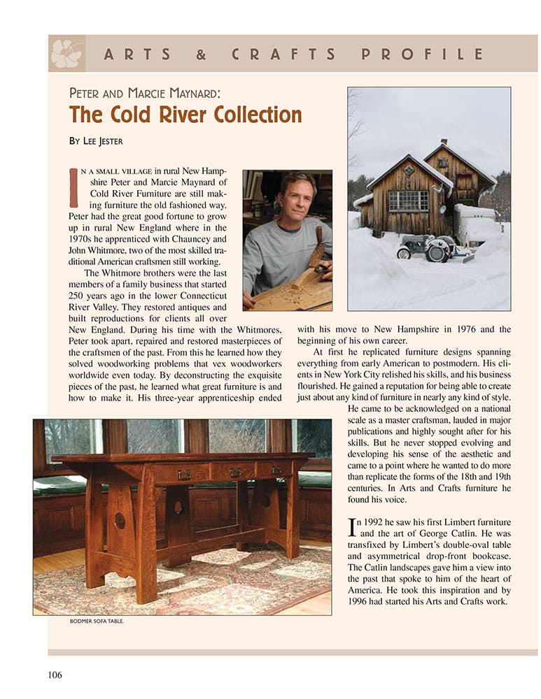 Cold River Furniture in American Bungalow magazine