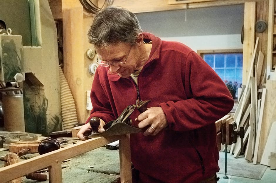 Peter Maynard using a hand plane from Stickley Museum's web blog